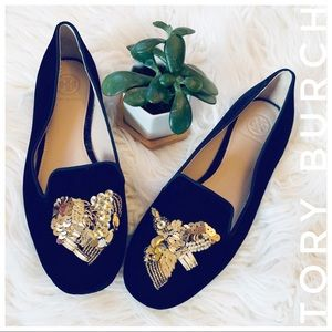 TORY BURCH Black velvet flats with gold sequins